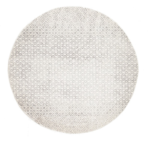 Estella Diamond Grey Transitional Round Rug