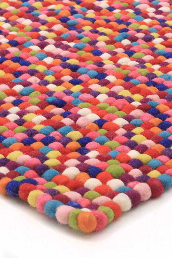 Felted Wool Unique Textured Ball Design Multi Rug