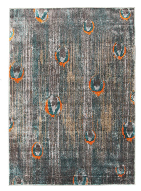 Hannah Peacock Feather Austin Rug Grey Blue Rust