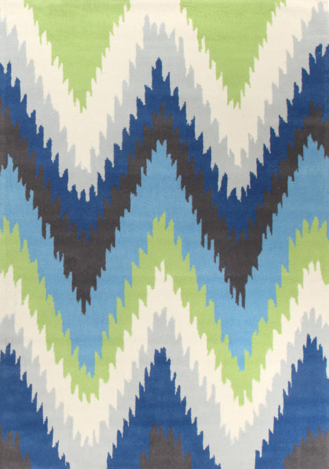 Grande Ikat Chevron Blue Green Rug