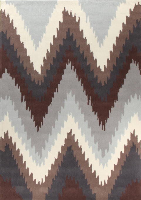 Grande Ikat Chevron Beige Brown Rug