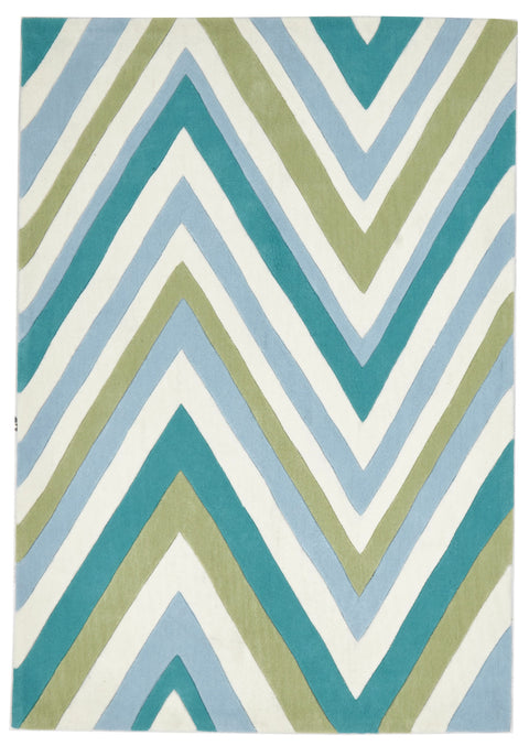 Grande Multi Chevron Rug Light Blue Green