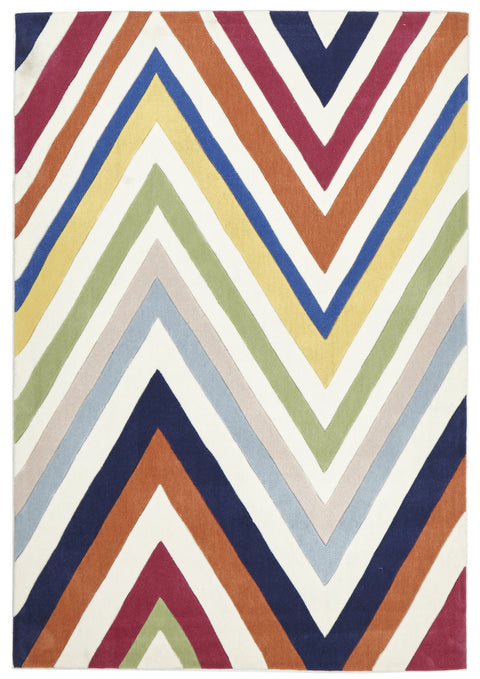 Grande Stunning Multi Coloured Chevron Rug