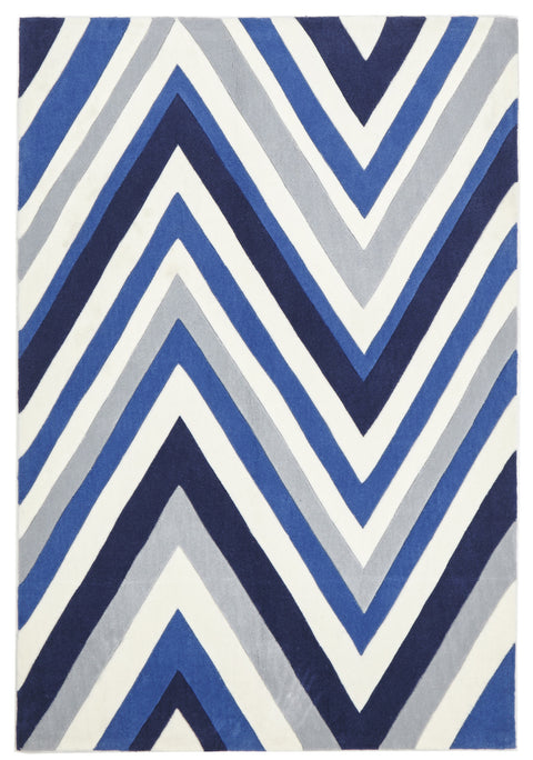 Grande Multi Chevron Rug Navy Blue White