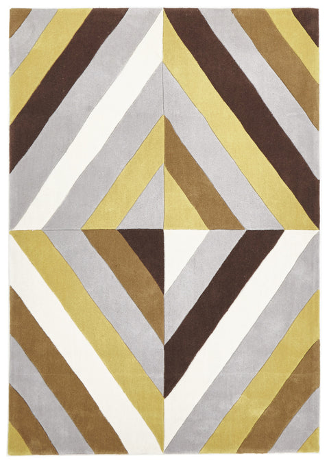 Grande Yellow Brown Grey Crystal Prism Rug