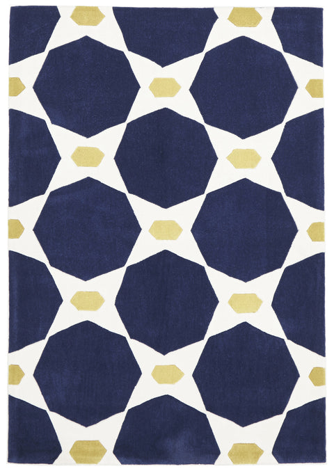 Grande Navy and Yellow Hive Rug