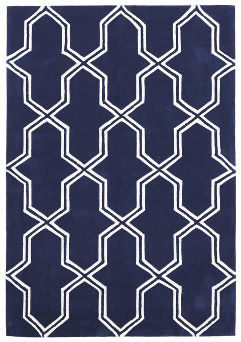 Grande Neo Lattice Design Rug Navy