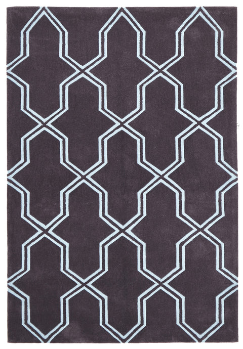 Grande Neo Lattice Design Rug Smoke