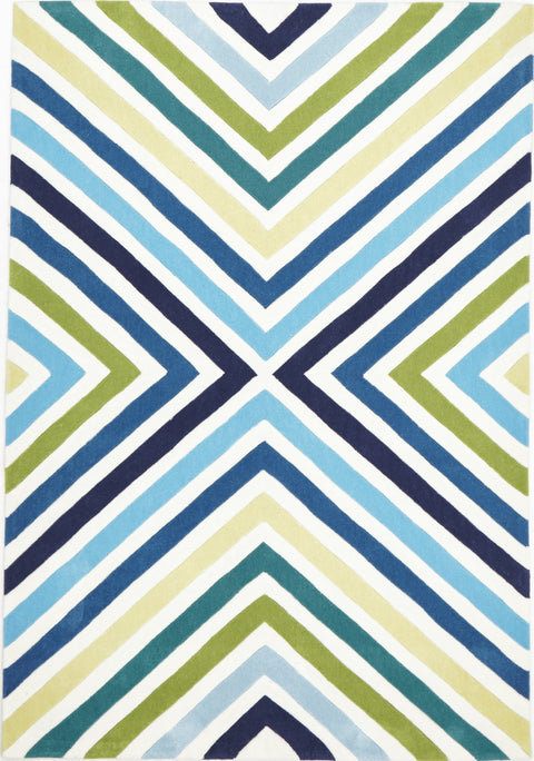 Grande Cross Roads Design Rug Blue Green
