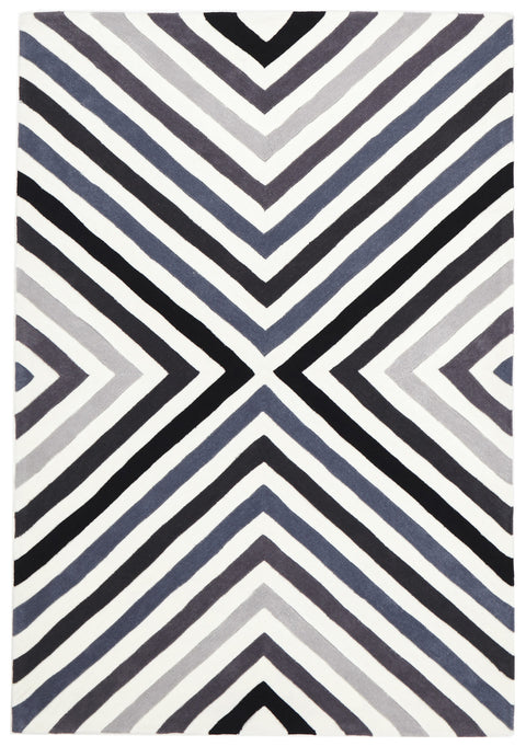 Grande Cross Roads Design Rug Charcoal Grey