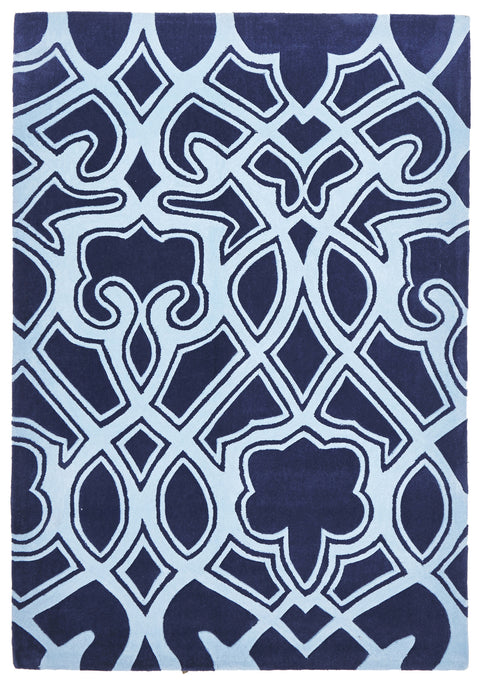 Grande Gothic Tribal Design Rug Navy