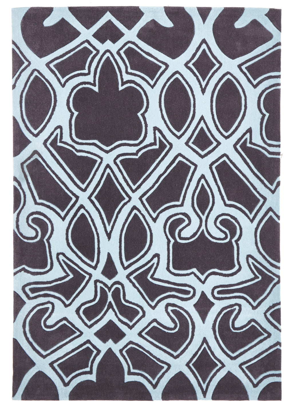 Grande Gothic Tribal Design Rug Smoke Grey and Blue