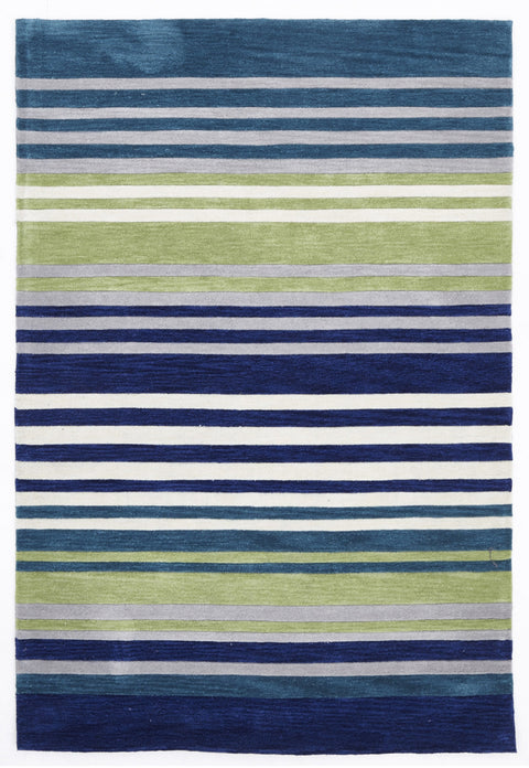 Grande Modern Abrash Stripes Rug Blue Green