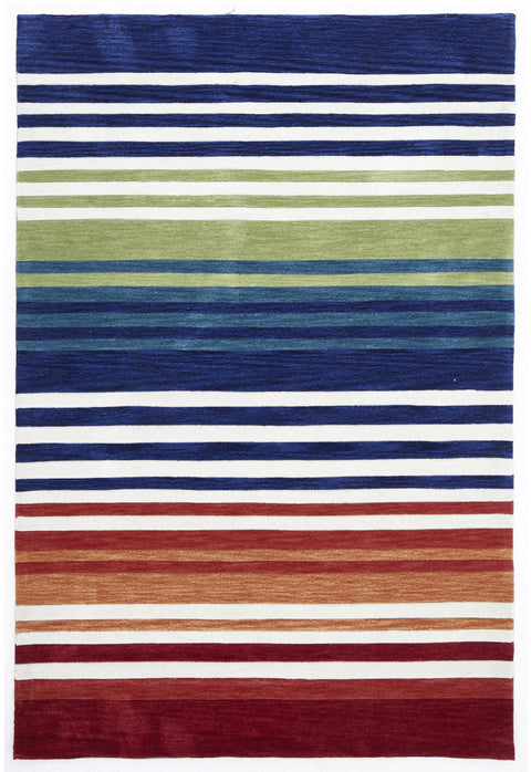 Grande Modern Abrash Stripes Rug Multi Rust