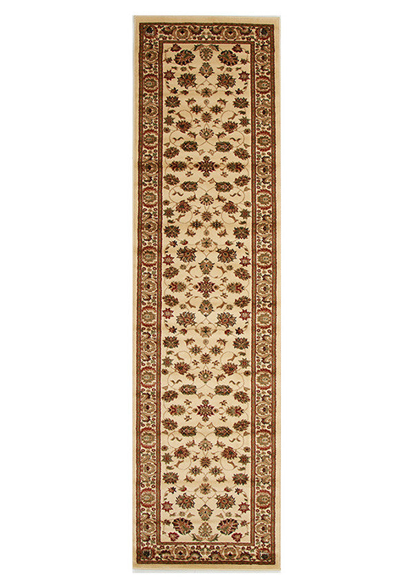 Valencia Traditional Floral Design Runner Rug Ivory