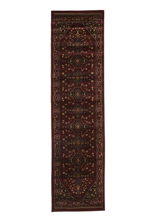 Valencia Traditional Shiraz Design Runner Rug Burgundy Red