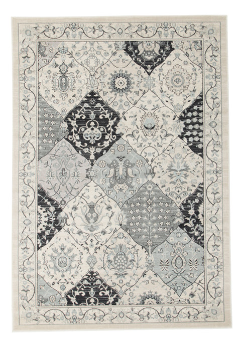 Diamond Persian Panel Design Rug Blue Navy Bone