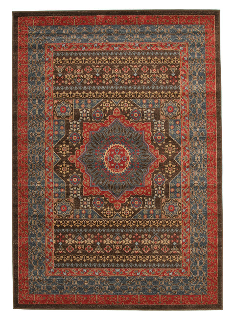Diamond Antique Heriz Design Rug Brown Red Blue