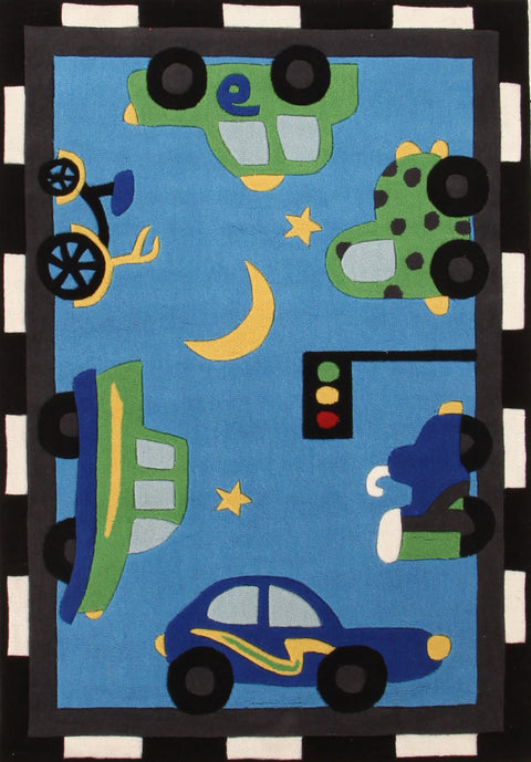 Kids Space Fun Automobile Traffic Rug Blue