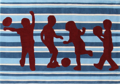 Kids Space Funky Striped Kids Rug Blue and Burgundy