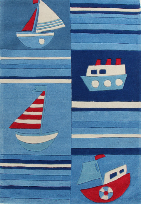 Kids Space Super Fun Ships and Boats Rug Blue