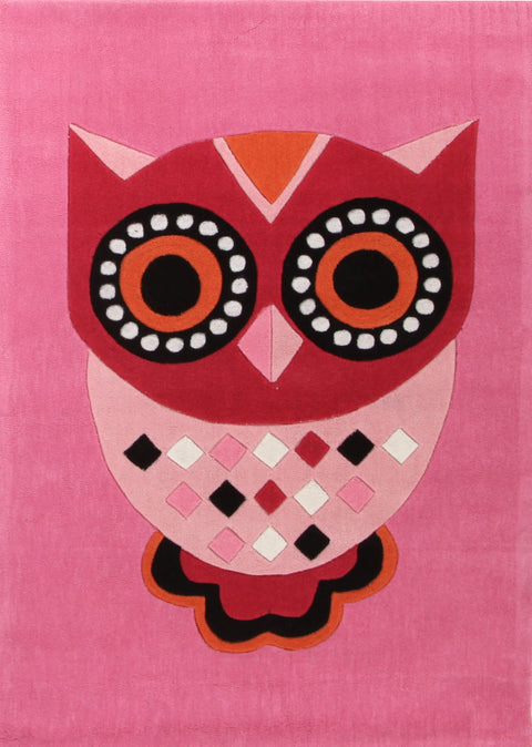 Kids Space Gorgeous Pink Owl Kids Rug