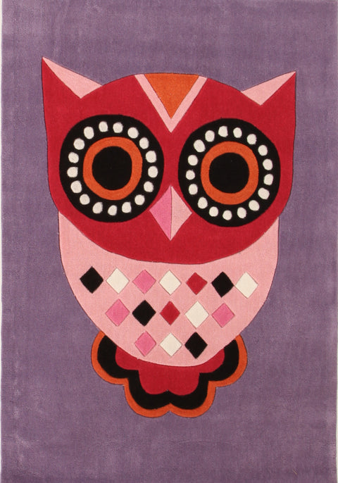 Kids Space Gorgeous Purple Owl Kids Rug