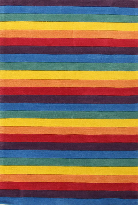 Kids Space Beautiful Stripped Rainbow Kids Rugs