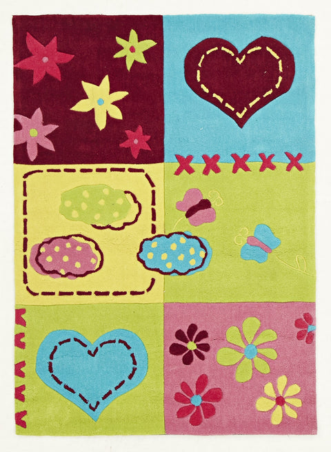 Kids Space Cute Bright Childers Heart Rug Green Pink