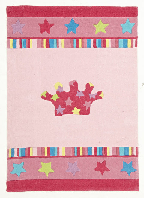 Kids Space Pretty Girls Crown Rug Pink