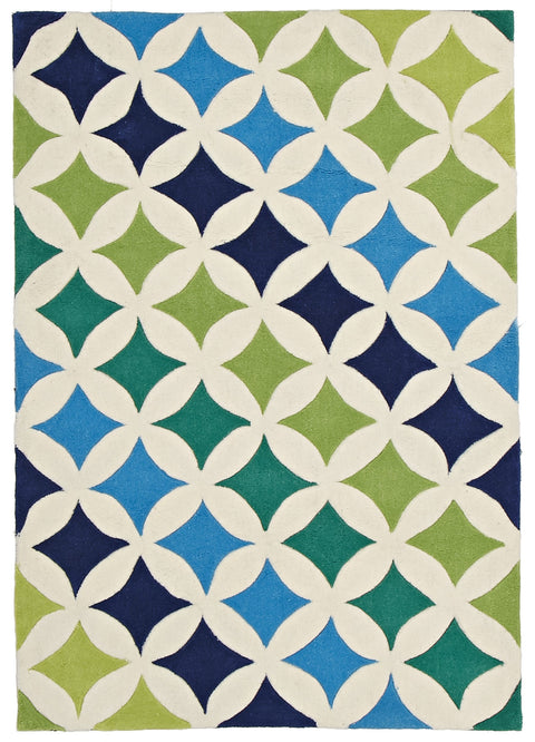 Kids Space Modern Diamonds Rug Blue Green