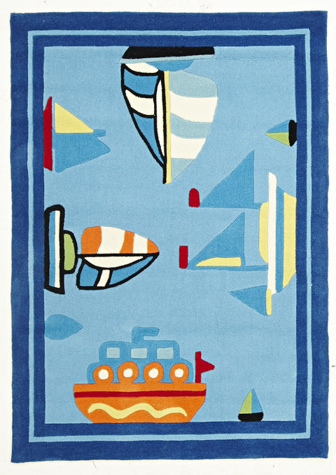 Kids Space Boats and Ships Rug Blue