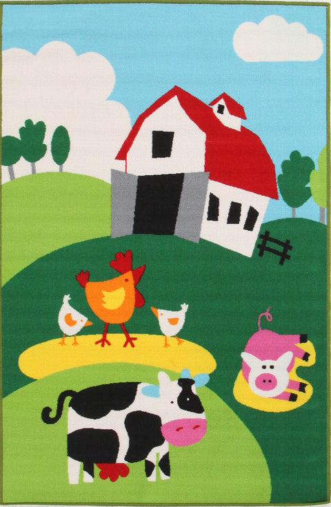 Kids Non Slip Barn Yard Farm Rug