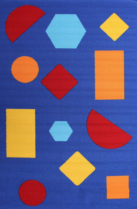 Kids Non Slip Shapes Rug Blue