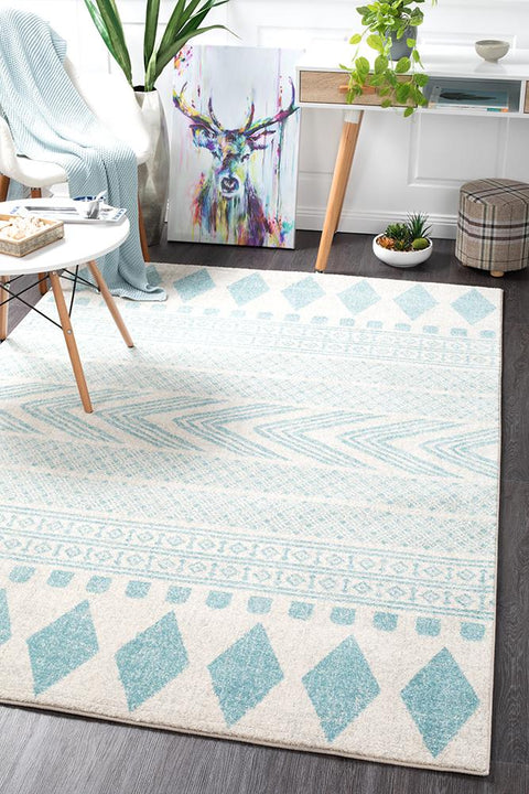 Adani  Modern Tribal Design sky Blue Rug