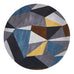 Laura Laura Designer Wool Round Rug Blue Yellow Grey