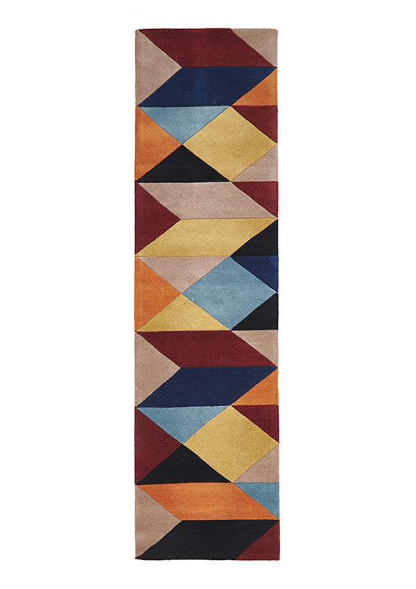 Laura Sandy Designer Wool Runner Rug Rust Blue Navy
