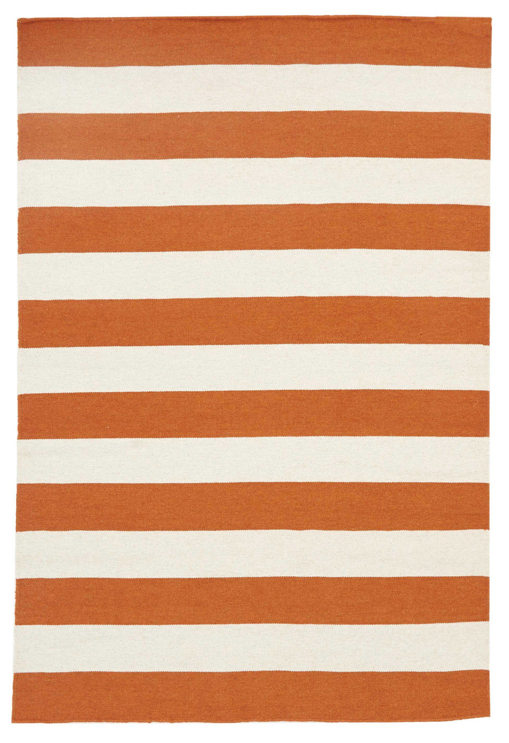Rio Flat Weave Stripe Orange White Rug