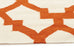 Rio Flat Weave Trellis Design Orange White Runner Rug