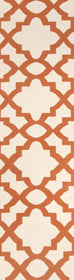 Rio Flat Weave Trellis Design Orange White Rug