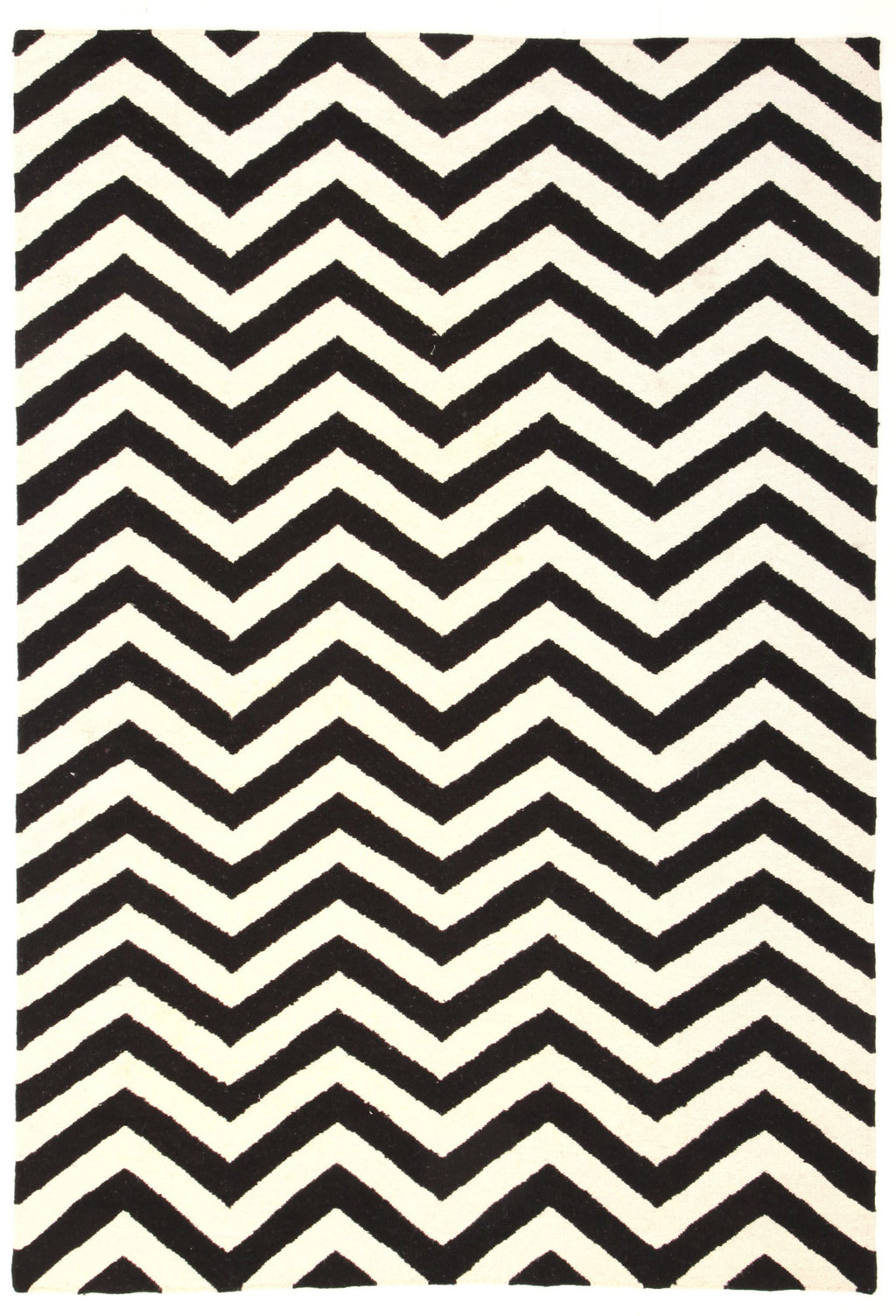 Rio Flat Weave Chevron Design Rug Black White