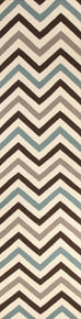 Rio Flat Weave Chevron Design Rug Blue Brown