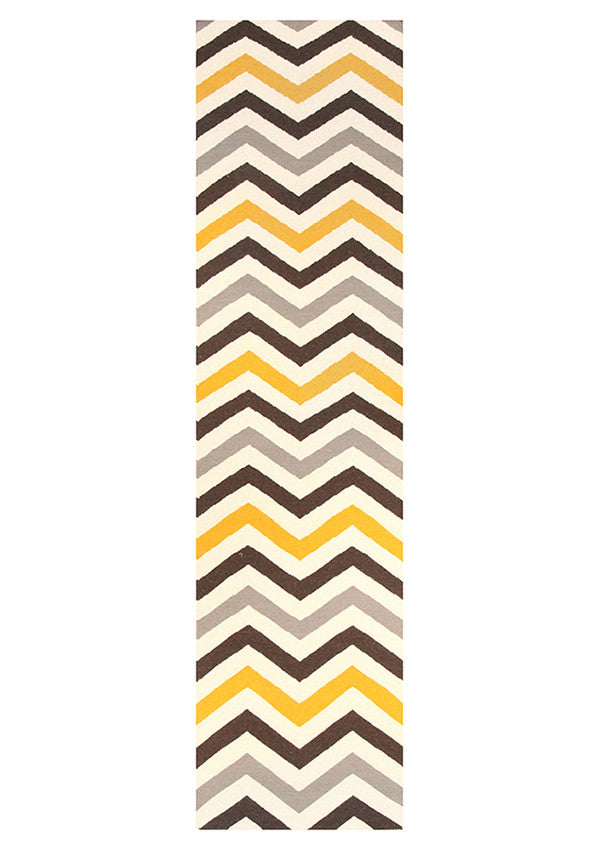 Rio Flat Weave Design Runner Rug Yellow Brown
