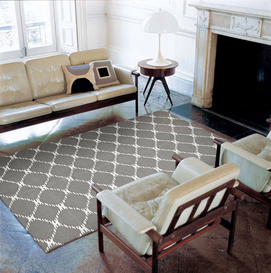 Rio Flat Weave Stitch Design Rug Grey