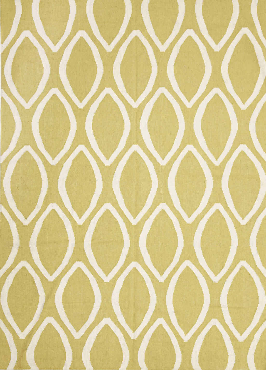Rio Flat Weave Oval Print Rug Yellow