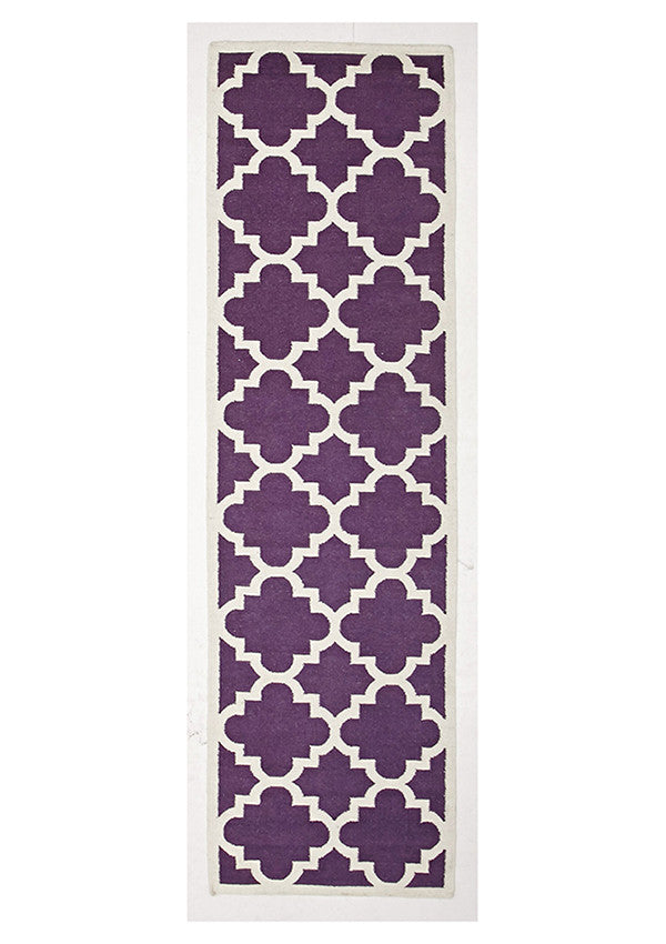 Rio Flat Weave Large Moroccan Design Runner Rug Aubergine