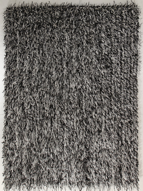Vagas Metallic Thick, Thin Shag Rug Black, Off White