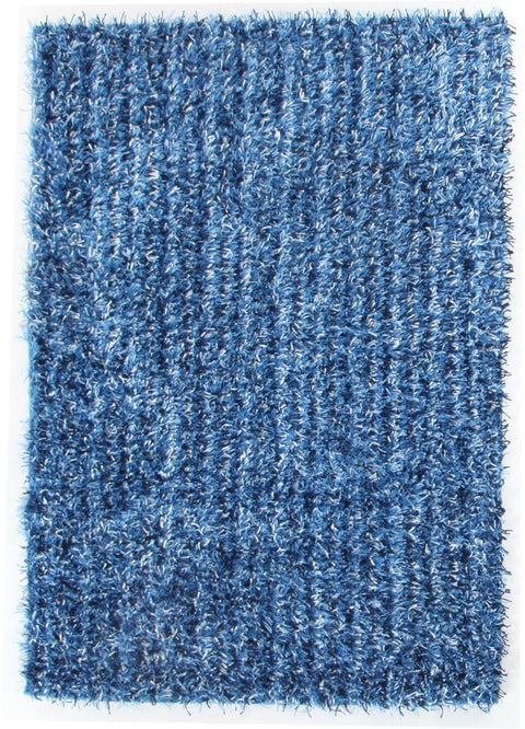 Vagas Metallic Thick, Thin Shag Rug Blue and Navy