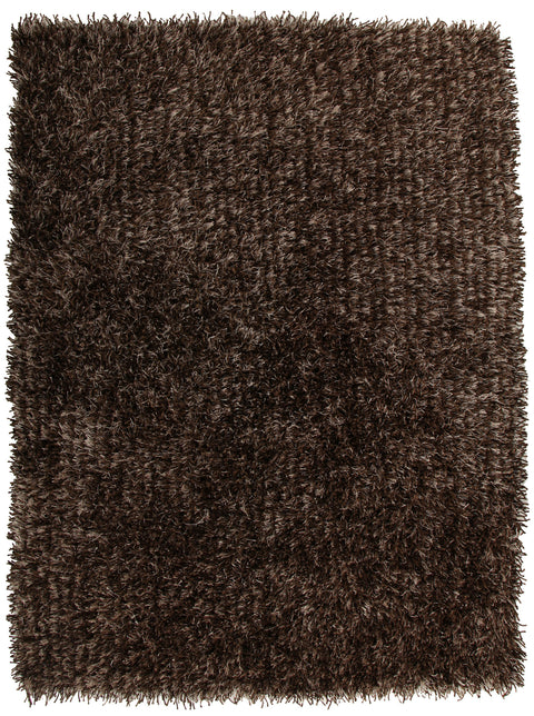 Vagas Metallic Thick, Thin Shag Rug Dark Brown