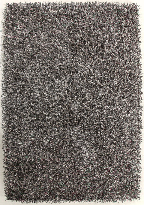 Vagas Metallic Thick, Thin Shag Rug Grey and White